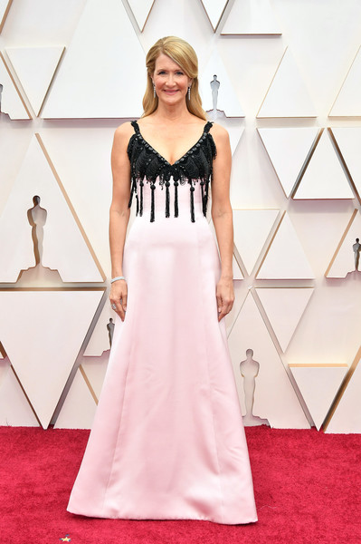 Laura Dern looked sweet in a pink Armani Prive gown with a tasseled black yoke at the 2020 Oscars.