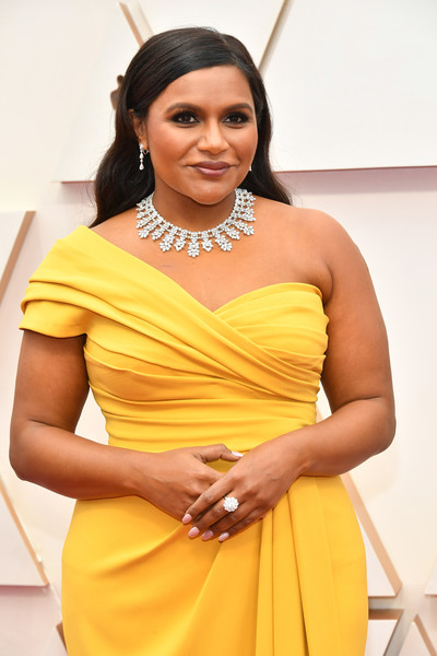 More Pics of Mindy Kaling Dangling Diamond Earrings (2 of 9) - Dangling Diamond Earrings Lookbook - StyleBistro [clothing,yellow,dress,photo shoot,shoulder,thigh,fashion,cocktail dress,abdomen,leg,arrivals,mindy kaling,hollywood,highland,california,92nd annual academy awards,mindy kaling,dolby theatre,the office,academy awards,oscar party,getty images,vanity fair,red carpet,photograph]