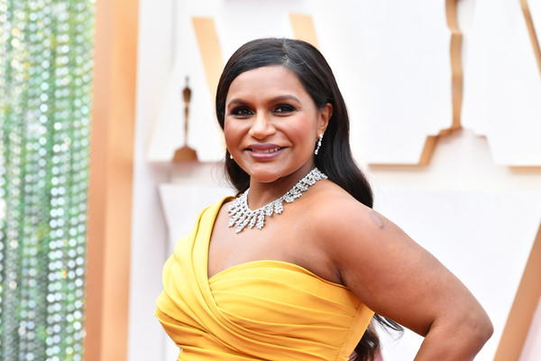 More Pics of Mindy Kaling Dangling Diamond Earrings (5 of 9) - Dangling Diamond Earrings Lookbook - StyleBistro [yellow,beauty,lady,smile,dress,photography,black hair,happy,sari,photo shoot,arrivals,mindy kaling,hollywood,highland,california,92nd annual academy awards,mindy kaling,oceans 8,academy awards,dolby theatre,actor,getty images,oscar party,television producer]