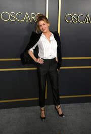 Renee Zellweger went the masculine-chic route in a black pantsuit at the 2020 Oscar nominees luncheon.