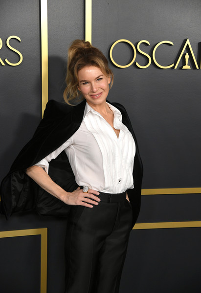 More Pics of Renee Zellweger Tuxedo Top (5 of 6) - Tuxedo Top Lookbook - StyleBistro [suit,beauty,formal wear,fashion,white-collar worker,long hair,premiere,businessperson,model,pantsuit,arrivals,nominees,ren\u00e3,zellweger,hollywood,california,oscars,oscars nominees luncheon,ren\u00e9e zellweger,judy,academy awards,hollywood,nomination,academy award for best actress,history,actor,charlize theron]