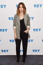 Black open-toe lace-up boots finished off Rose Byrne's ensemble.