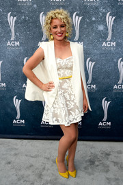 Cam attended the ACM Honors looking sweet in a white mesh fit-and-flare dress.