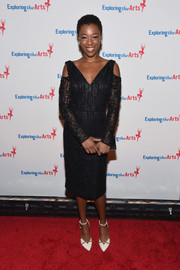 Samira Wiley attended the Exploring the Arts Gala wearing a geometric-patterned cold-shoulder LBD by Christian Siriano.