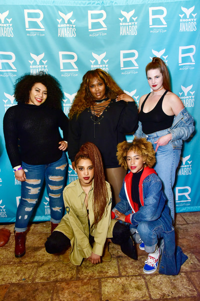 More Pics of Lizzo Leather Sneakers (3 of 8) - Athletic Shoes Lookbook - StyleBistro [social group,youth,fashion,fun,event,photography,lizzo,9th annual shorty awards,center,new york city,refinery rooftop,party,the 9th annual shorty awards]