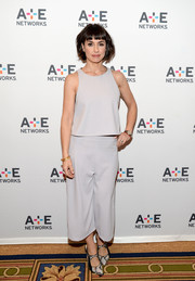 Constance Zimmer went for a neutral look with a soft gray top at the Winter TCA.