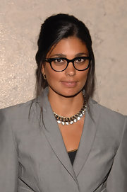 Rachel Roy paired her sleek blazer with a fabulous statement necklace.