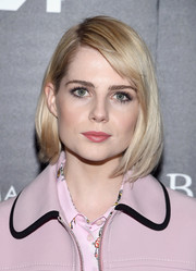 Lucy Boynton was a classic beauty wearing this bob with side-swept bangs at a screening of 'The Blackcoat's Daughter.'