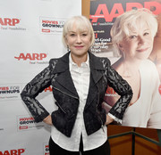 Helen Mirren attended the AARP luncheon looking hip in an embroidered black moto jacket.