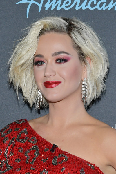 More Pics of Katy Perry One Shoulder Dress (2 of 6) - Dresses & Skirts Lookbook - StyleBistro [american idol,hair,face,hairstyle,blond,eyebrow,lip,chin,beauty,long hair,forehead,arrivals,katy perry,taping,california,los angeles,abc]