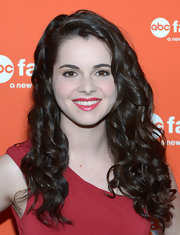 Vanessa Marano opted for a finishing touch of rich raspberry lipstick.