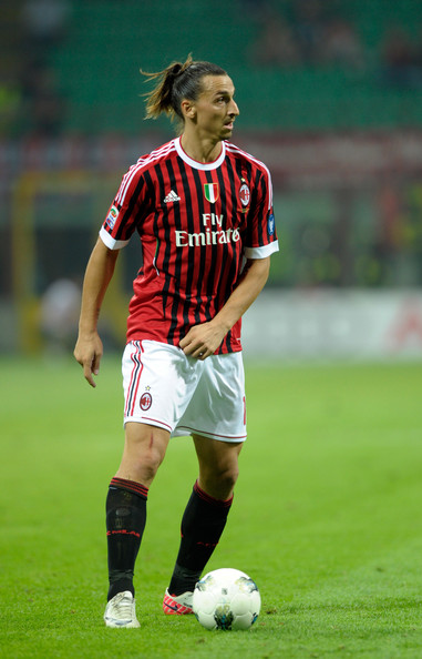 Here, Zlatan Ibrahimovic pulled his hair back into a high ponytail to keep it away from his face and eyes.
