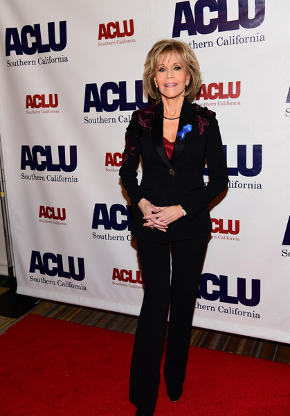 Jane Fonda suited up in this black Versace set with embroidered shoulders for the Bill of Rights dinner.
