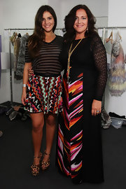 Margherita Missoni completed her eclectic ensemble with a pair of leopard-print platform sandals.