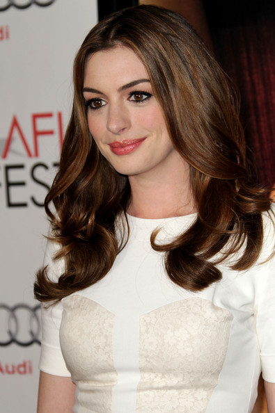 More Pics of Anne Hathaway Long Center Part (4 of 15) - Anne Hathaway Lookbook - StyleBistro