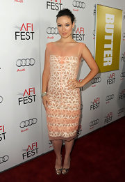 Olivia Wilde was pretty in pink at the 'Butter' screening at the AFI festival. She paired her feminine look with silver peep-toe pumps.