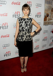 Bella Heathcote arrived at the AFI Fest's premiere of 'Life of Pi' in a pair of two-toned strappy heels.