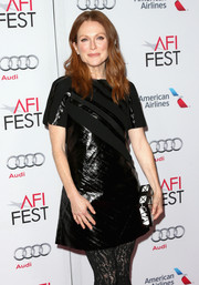 Julianne Moore was all in black wearing a patent dress by Louis Vuitton at the AFI FEST 2014 screening of 'Still Alice.'