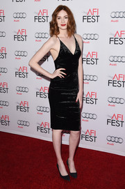 Karen Gillan looked sultry in a black velvet slip dress while attending the 'Big Short' premiere.