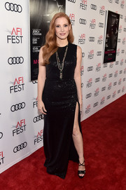 Jessica Chastain polished off her look with strappy black platforms.