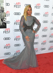 Mary J. Blige stole the spotlight in a semi-sheer gray mermaid gown by Rami Al Ali Couture at the AFI FEST 2017 opening night gala.