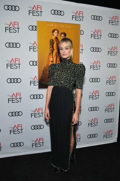 Margot Robbie chose a Chanel Couture gown with a heavily beaded bodice and a high side slit for the AFI FEST premiere of 'Mary Queen of Scots.'