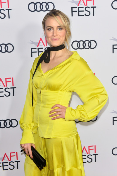More Pics of Taylor Schilling Satin Clutch (3 of 5) - Clutches Lookbook - StyleBistro [yellow,clothing,fashion model,hairstyle,fashion,carpet,premiere,outerwear,dress,fashion design,filmmakers,taylor schilling,california,hollywood,tcl chinese 6 theatres,afi fest,festival filmmakers 3,audi,audi - festival]