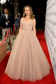 Natalie Portman looked breathtaking in a nude princess gown by Dior Couture at the AFI FEST screening of 'Vox Lux.'