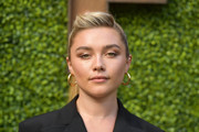 Florence Pugh styled her hair into a pompadour ponytail for the Indie Contenders Roundtable during AFI FEST 2019.