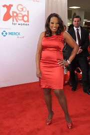Star Jones shined in a red satin cocktail dress for the Macy's event.