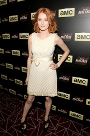 Emily Beecham went for vintage appeal in a textured nude dress with a bowed waist during the premiere of 'Into the Badlands.'