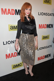 Christina Hendricks went for casual elegance in a black silk button-down during the 'Mad Men' season 7 premiere.