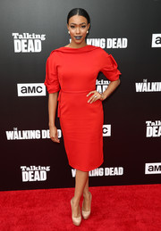 Sonequa Martin donned a vintage-inspired red cocktail dress for the Talking Dead Live event.