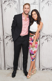 Kaitlyn Bristowe dolled up her look with a multicolored floral pencil skirt.