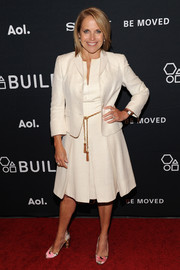 Katie Couric added a touch of print with a pair of floral satin pumps.