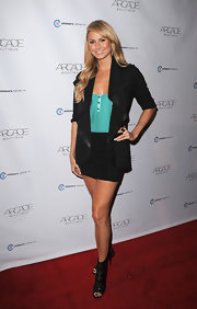 Stacy Keibler added visual interest to her classic look with lace cutout booties.