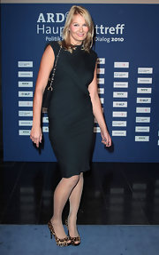 This ruched little black dress was a stylish yet safe sartorial choice for Franziska.