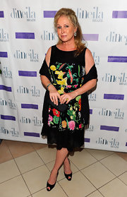 Kathy Hilton looked sweet and girly in her floral frock at the Aruba in Style event.