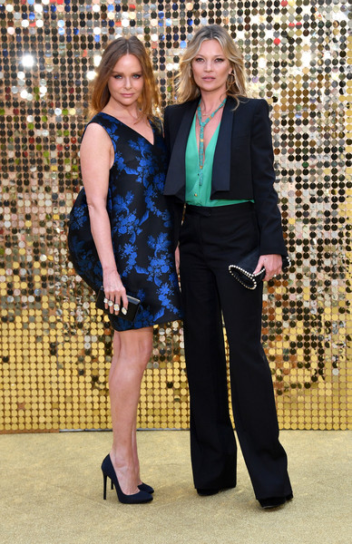 Kate Moss looked impeccable at the 'Absolutely Fabulous' world premiere in a crisp midnight-blue pantsuit designed by her date for the night, Stella McCartney.