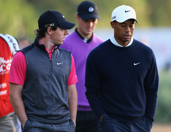 Tiger Woods opted for this navy crewneck for his look at the HSBC Golf Champsionship.