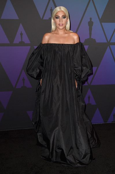 Lady Gaga went for goth glamour in a voluminous black off-the-shoulder gown by Valentino at the 2018 Governors Awards.