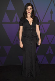 Rachel Weisz opted for a simple black button-down gown by Brock Collection when she attended the 2018 Governors Awards.