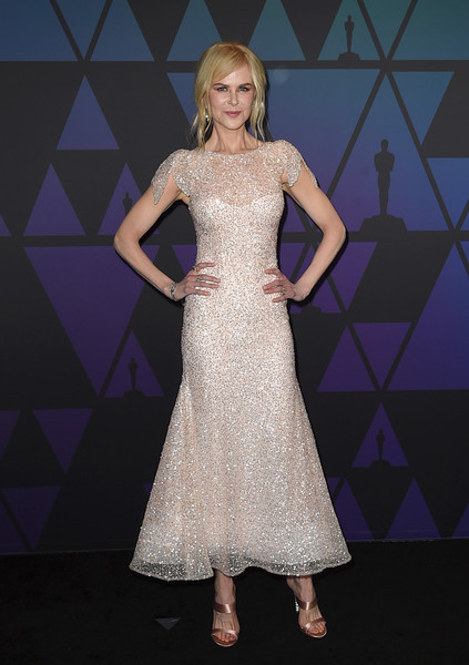 Nicole Kidman looked breathtaking, as always, in a tea-length sequined dress by Rodarte at the 2018 Governors Awards.
