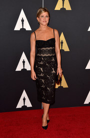 Jennifer Aniston looked ageless in a lace corset LBD by Zuhair Murad during the Governors Awards.