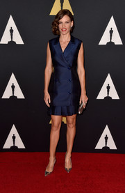 Hilary Swank kept it sharp and chic in a double-breasted navy tux dress by Antonio Berardi at the Governors Awards.