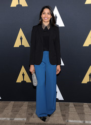 Freida Pinto added a punch of color with a pair of blue wide-leg pants.