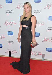 Kaley Cuoco chose a beaded gown with a slight cutout for her sophisticated red carpet look.