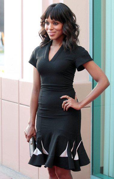 More Pics of Kerry Washington Medium Wavy Cut with Bangs (1 of 27) - Kerry Washington Lookbook - StyleBistro