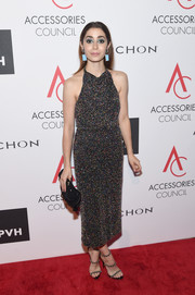 Cristin Milioti kept it fun yet elegant at the 2017 ACE Awards in a Cushnie et Ochs halter dress studded all over with multicolored beads.