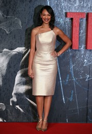 Cynthia Addai-Robinson completed her metallic look with strappy gold pumps.